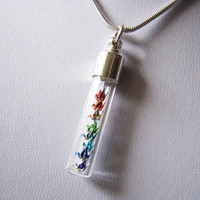 Miniature Origami Cranes Necklace Rainbow by PaperPeaches