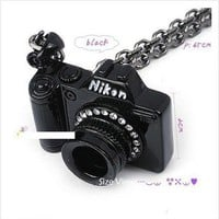 Personalize Black Camera With Rhinestones Long Pendant Necklace at Cheap Jewelry Store Gofavor