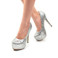 Korean Fashion Silver Waterproof Thin Pumps Wholesale  : Wholesaleclothing4u.com