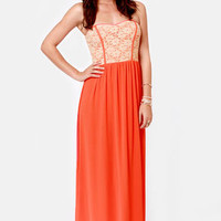 Bringin' Maxi Back Strapless Orange Maxi Dress