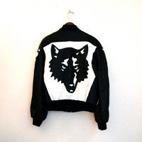 90s Black Wolf Leather Jacket by North Beach Michael Hoban North Beach// Vintage Bomber Black Leather Jacket