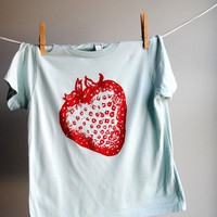 Strawberry TShirt Pale Aquamarine Blue with Red Ink by WrenWillow