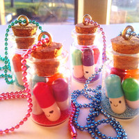 Kawaii Happy Pill Pendant Necklace Message in a Bottle