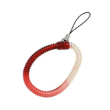 Gino Plastic Spiral Coiled Lanyard Hand Strap Red Clear for MP4 MP3 Phone