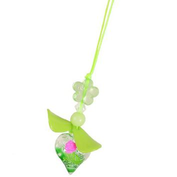 Gino Green Plastic Bead Leaf Flower Heart Shape Pendants Cell Phone Charm Straps
