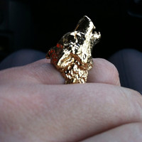 RABID FOX Howling Wolf Ring in Gold by Fleathers on Etsy