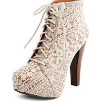 Vintage Lace Lace-Up Heel Bootie