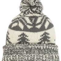 Muk Luks Women's Classic Oversized Beanie Cuff Cap, Grey/Ivory, One Size: Clothing
