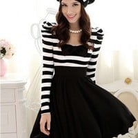 Wholesale New Stripe Bowknot Hubble-bubble Dress Black&White