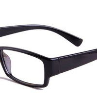 Beata Eyeglasses with Black Acetate Rectangle Full Frame/Rim Frame