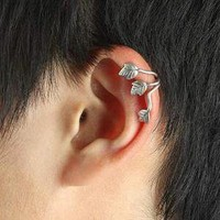 New Fashion Retro Anti Silver Three Leaf Cuff Ear Clip Wrap No Ear Piercing 1PC