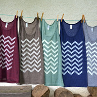 Tank Top - Coffee Brown with White Chevron - Sizes XS, S, M