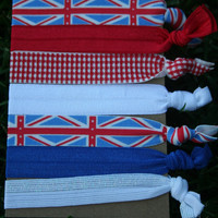 7 Pack British Flag Blue White Red One Direction UK Knot Hair Ties Stretch Fold Over Elastic FOE Pony Tail Holder Bracelet S9