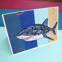 Greeting Card Shark Zentangle  - Art - Holiday - Christmas - Blank - Ocean