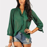 Mira Blouse - Hunter Green at Necessary Clothing