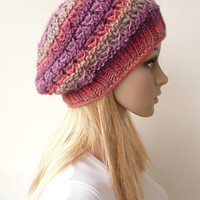 Knit Hat Silk Wool Slouch Beanie Hand Knit Hat Multicolor Slouchy Beret Winter Accessories Chunky Knit