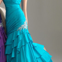 Turquoise Ruched Layered Ruffled Taffeta Strapless Prom Dress - Unique Vintage