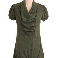 Over and Over Top in Olive | Mod Retro Vintage Short Sleeve Shirts | ModCloth.com