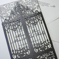 Laser cut scrollwork gatefold  Old Philly by KatBluStudio on Etsy