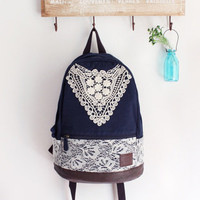 Navy Blue Backpack with Crochet