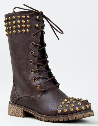 HARLEY-14 Military Combat Lace Up Studded Mid Calf Boot
