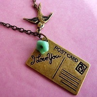 Victorian Postcard Air Mail Love Bird Necklace