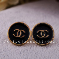 Black Chanel Inspired Studs