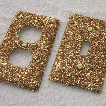 Gold Rush Glitter Light Switch or Outlet Covers