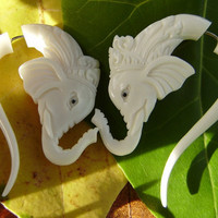 Fake gauge ,Natural Bone ,Split Gauge Earrings ,good luck elephants head.tribal style