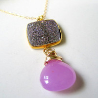 Sparkling Purple Druzy Necklace,Gold Fill