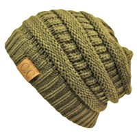 Olive Green Thick Slouchy Knit Oversized Beanie Cap Hat