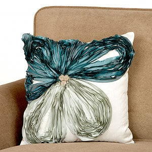Jade & Porcelain Off-Center Flower Toss Pillow | Pillows and Throws| Home Decor | World Market