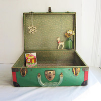 Vintage Metal Box - Green & Red Roller Skate Case/ Travel Case with Clear Lucite Handle - Beautiful for Holiday Display