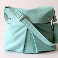Modular Messenger Bag in Aqua Blue / Shoulder Bag / Laptop Bag / Diaper Bag / Travel Bag / Pleated Bag with flap and adjustable strap
