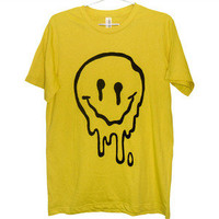 Killer Condo — Sick and Melted Smiley Face T-shirt | Black on Yellow