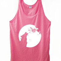 Howling Wolf and Moon Neon Pink Unisex Mens/ Womens American Apparel available in XS, S, M, L,XL