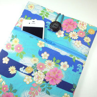 Unique iPad 4 cover Japanese tablet case iPad 3 sleeves With Zippered Pocket Kimono Cotton Fabric Flowers light blue