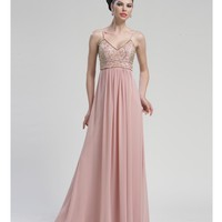Grecian Rose Empire Waist Chiffon Gown - Unique Vintage - Cocktail, Pinup, Holiday & Prom Dresses.