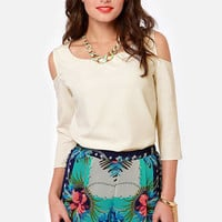 Any Time, Any Place Cutout Ivory Top
