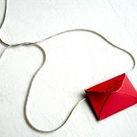 Mini Luv Letter Necklace Red by bombyxboutique on Etsy