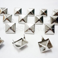 100x7mm Silver Pyramid Studs Spots Punk ROCK Biker DIY Spikes S107