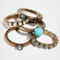 Multi Stone Stackable Rings | Antique Turquoise Rings | fredflare.com