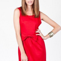 Layla Bow Dress in Red - ShopSosie.com