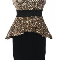 Sequin Peplum Dress - Kely Clothing