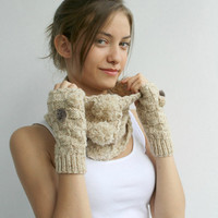 Free SHIPPING Wool Beige Tweed Neckwarmer and Mittens WARM SET With Pompom and hand Croched Button gift for her Christmas Gift
