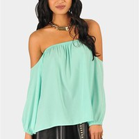 Perfection Off The Shoulder Top - Mint at Necessary Clothing