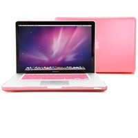 GMYLE Pink Rubberized See-Through Hard Shell Skin Case Cover for Apple 15-inch Aluminum Unibody Mac