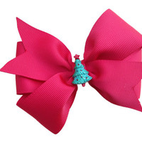 Christmas hair bow - christmas tree hair bow, christmas bow