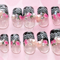 Japanese nail art, rose, elegant gothic lolita, 3D nails, egl, deco nails, bling, black french, french tips,