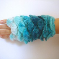 Multi color Turquoise yarn Fingerless by cookieletta on Etsy